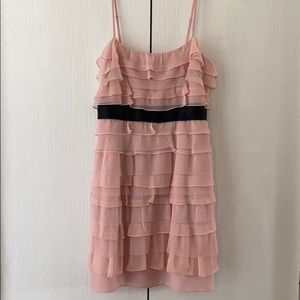 Pretty in pink, tiered dress by BCBG